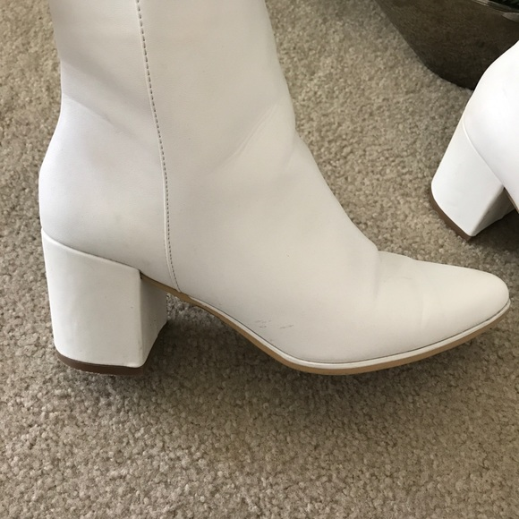5cedc26d327 White Ankle Block Heel Boots